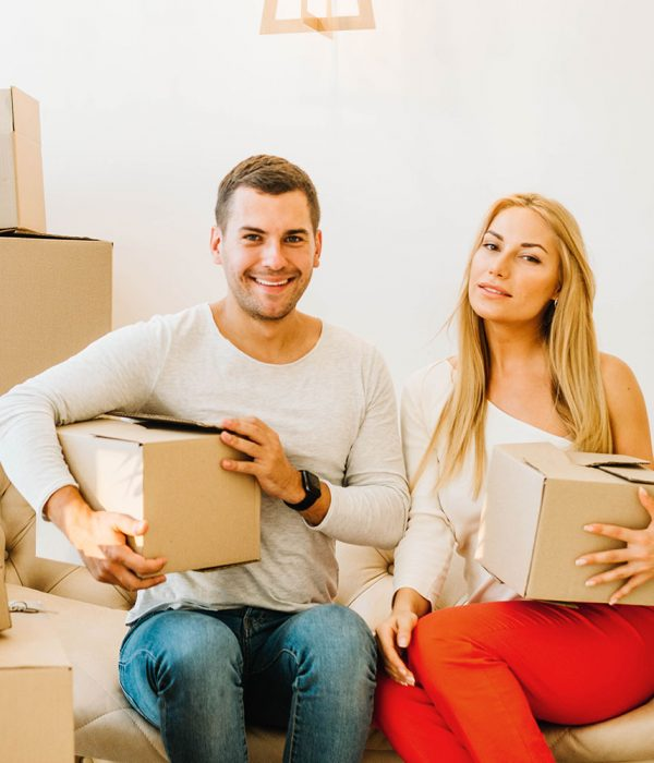Man and Woman with removal boxes
