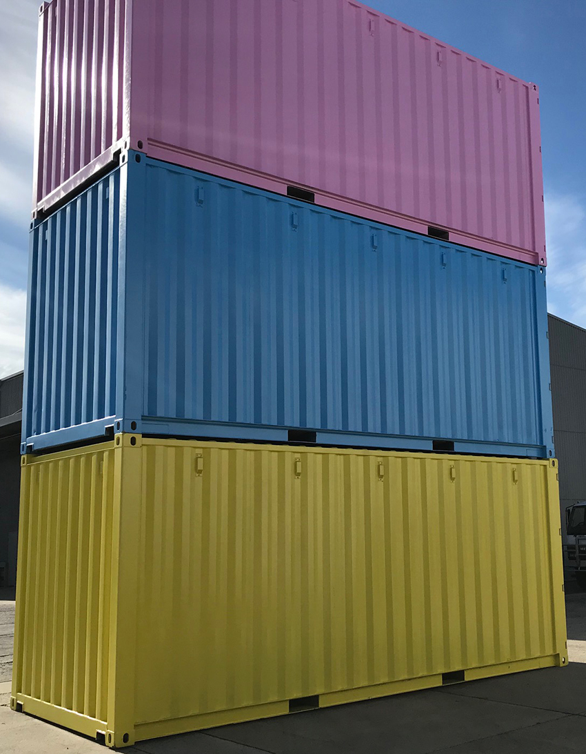3 colourful shipping containers