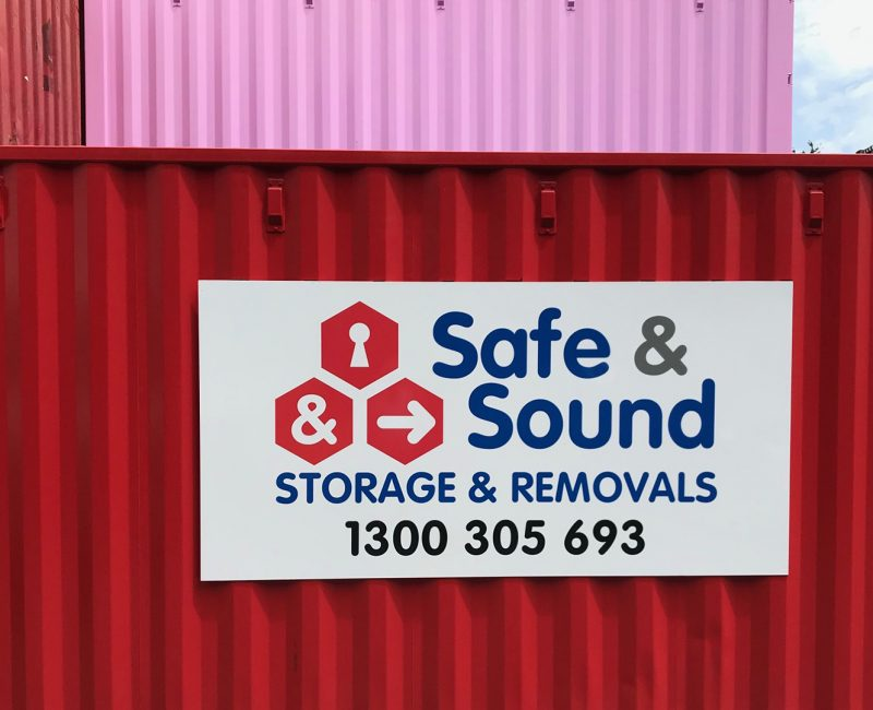 red safe and sound shipping container storage banner